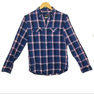 AX Armani Exchange Plaid blue button front shirt